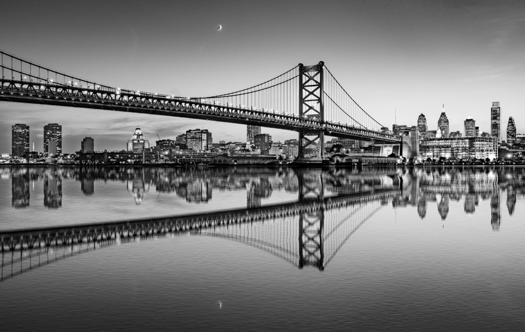 Philadelphia Night Skyline Refection